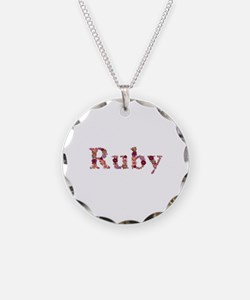 Ruby Pink Flowers Necklace