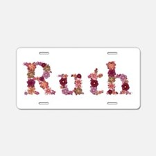 Ruth Pink Flowers Aluminum License Plate