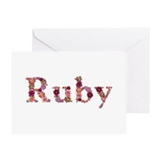 Ruby Pink Flowers Greeting Card