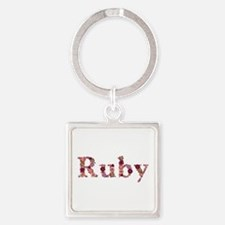 Ruby Pink Flowers Square Keychain