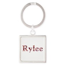 Rylee Pink Flowers Square Keychain