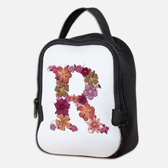 R Pink Flowers Neoprene Lunch Bag