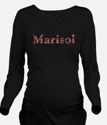 Marisol Pink Flowers Long Sleeve Maternity T-Shirt