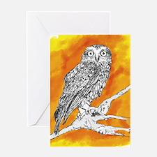 Owl on Orange Greeting Cards