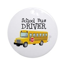 School Bus Driver Ornament (Round)