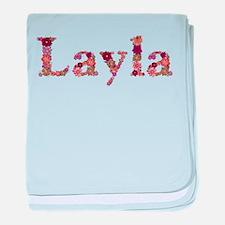 Layla Pink Flowers baby blanket