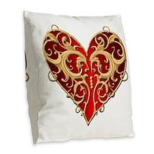 Valentine Heart Burlap Throw Pillow