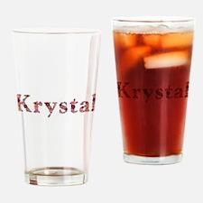 Krystal Pink Flowers Drinking Glass