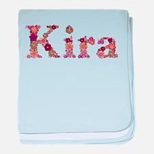 Kira Pink Flowers baby blanket