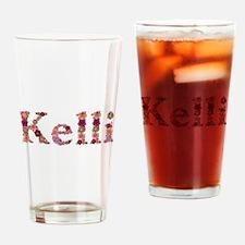 Kelli Pink Flowers Drinking Glass