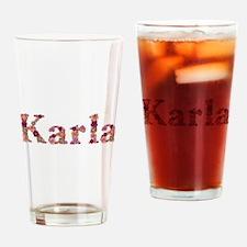 Karla Pink Flowers Drinking Glass