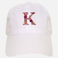 K Pink Flowers Baseball Baseball Baseball Cap