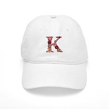 K Pink Flowers Baseball Baseball Cap
