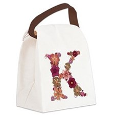 K Pink Flowers Canvas Lunch Bag