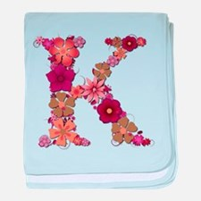 K Pink Flowers baby blanket