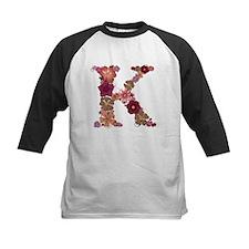 K Pink Flowers Baseball Jersey