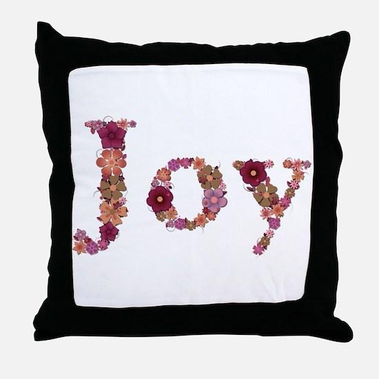 Joy Pink Flowers Throw Pillow