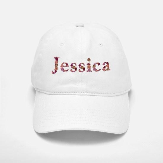 Jessica Pink Flowers Baseball Cap