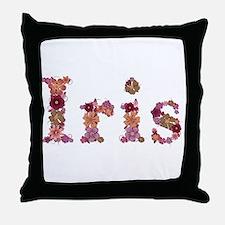 Iris Pink Flowers Throw Pillow