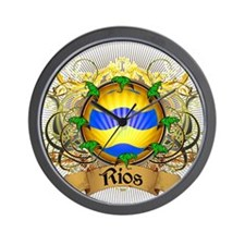 Rios Family Crest Wall Clock