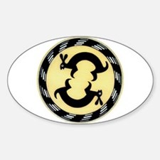 MIMBRES BUNNY RABBITS BOWL DESIGN Oval Decal