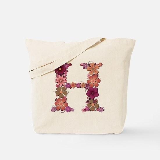 H Pink Flowers Tote Bag