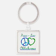 Peace Love Oklahoma Square Keychain