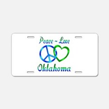 Peace Love Oklahoma Aluminum License Plate