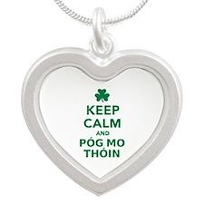 Keep calm and póg mo thóin Silver Heart Necklace
