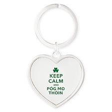 Keep calm and póg mo thóin Heart Keychain