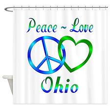 Peace Love Ohio Shower Curtain