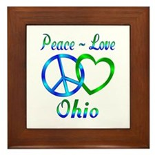 Peace Love Ohio Framed Tile