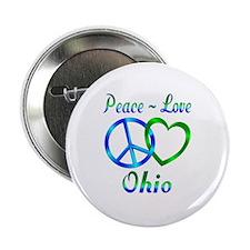 """Peace Love Ohio 2.25"""" Button"""