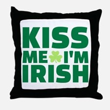 Kiss me I'm Irish shamrock Throw Pillow