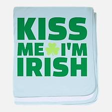 Kiss me I'm Irish shamrock baby blanket