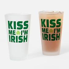 Kiss me I'm Irish shamrock Drinking Glass