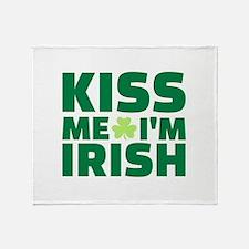 Kiss me I'm Irish shamrock Throw Blanket