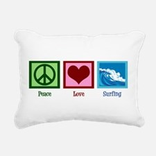 Peace Love Surfing Rectangular Canvas Pillow