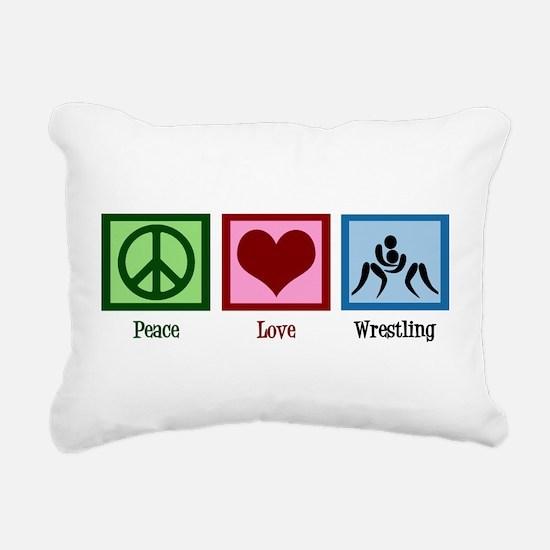 Peace Love Wrestling Rectangular Canvas Pillow