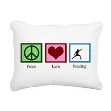 Peace Love Fencing Rectangular Canvas Pillow