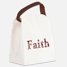 Faith Pink Flowers Canvas Lunch Bag