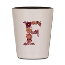F Pink Flowers Shot Glass