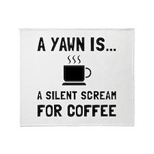 Yawn Coffee Throw Blanket