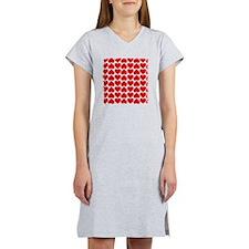 Cute Red Hearts Women's Nightshirt