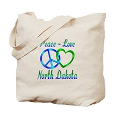 Peace Love North Dakota Tote Bag
