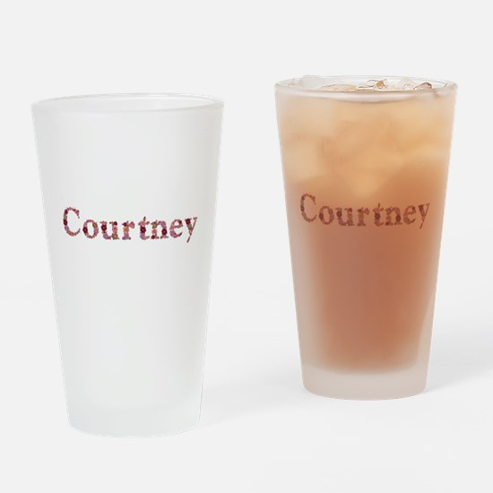 Courtney Pink Flowers Drinking Glass