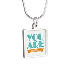 You Are Worth It Silver Square Necklace