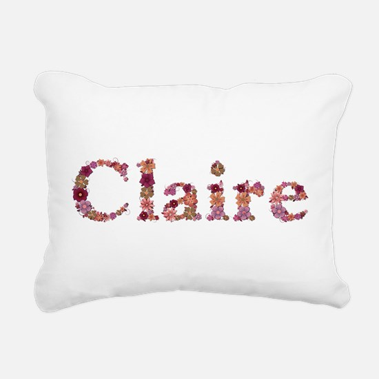 Claire Pink Flowers Rectangular Canvas Pillow