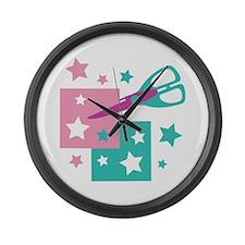 Cutting Star Scissors Large Wall Clock