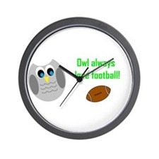 Owl always love football! Wall Clock